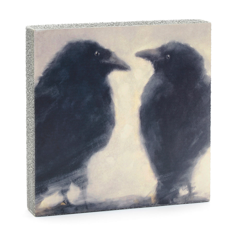 wood art block ravens crows