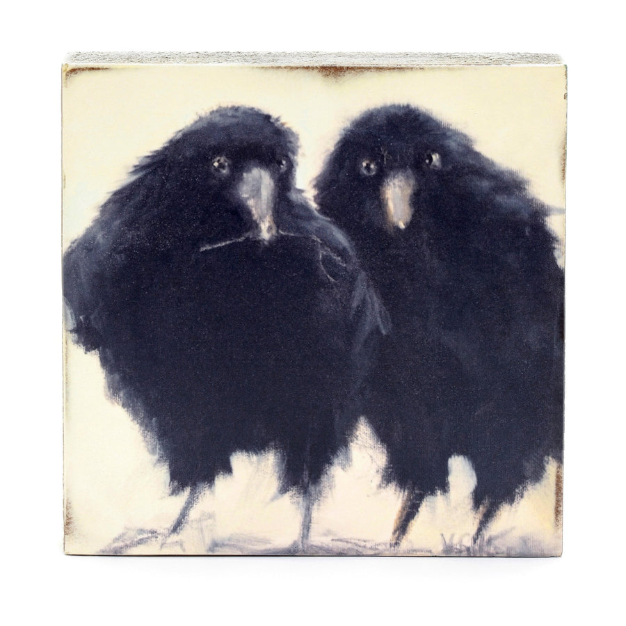 wood art block crows
