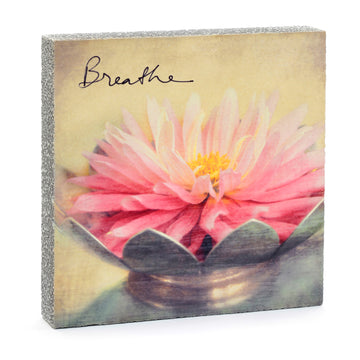 wood art block breathe dahlia