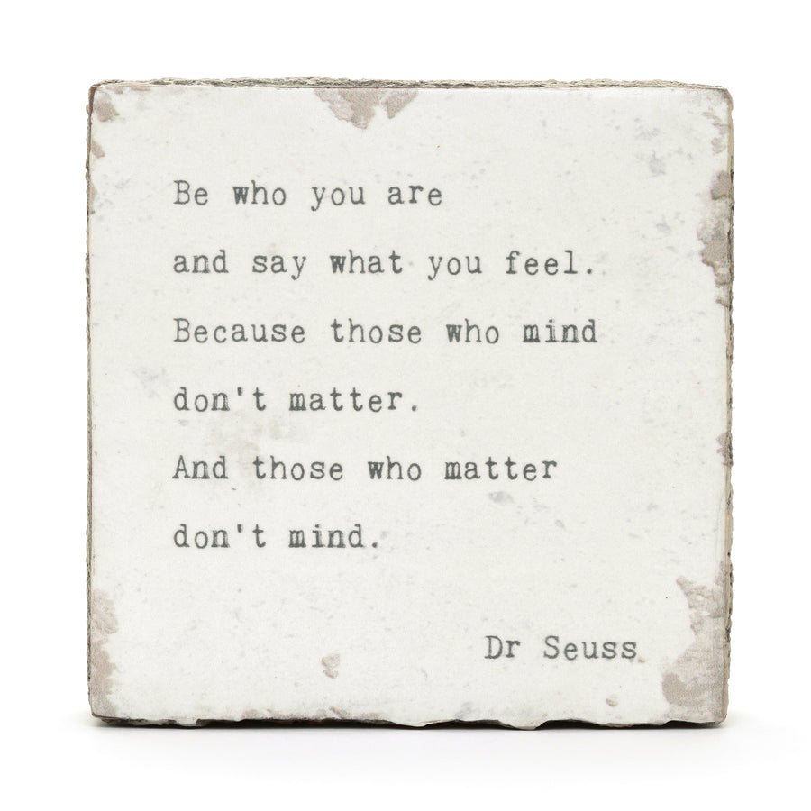wood art block dr. seuss quote be who you are