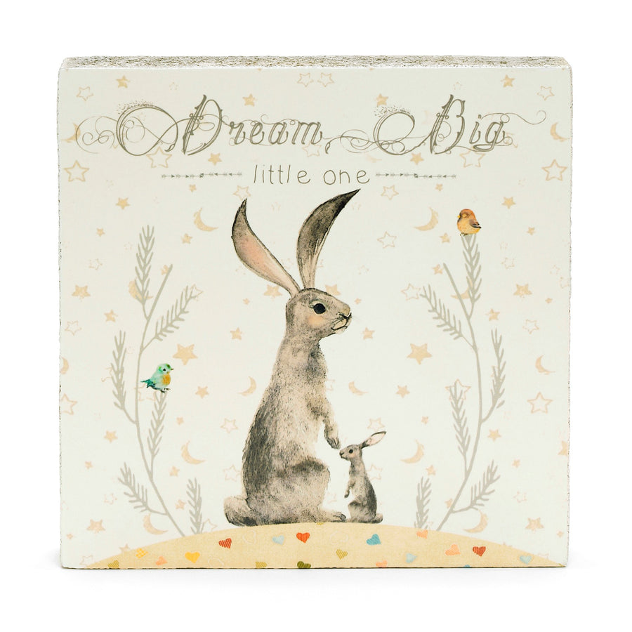 wood art block dream big bunny