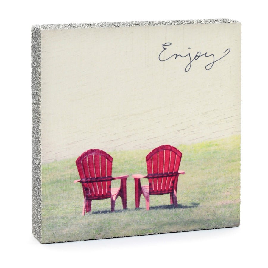 wood art block enjoy red Adirondack chairs