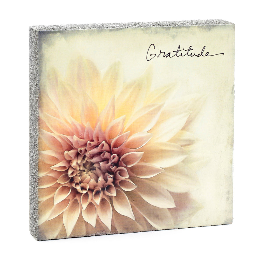 wood art block gratitude flower