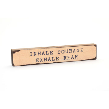 wood art block inhale courage exhale fear cedar mountain studios