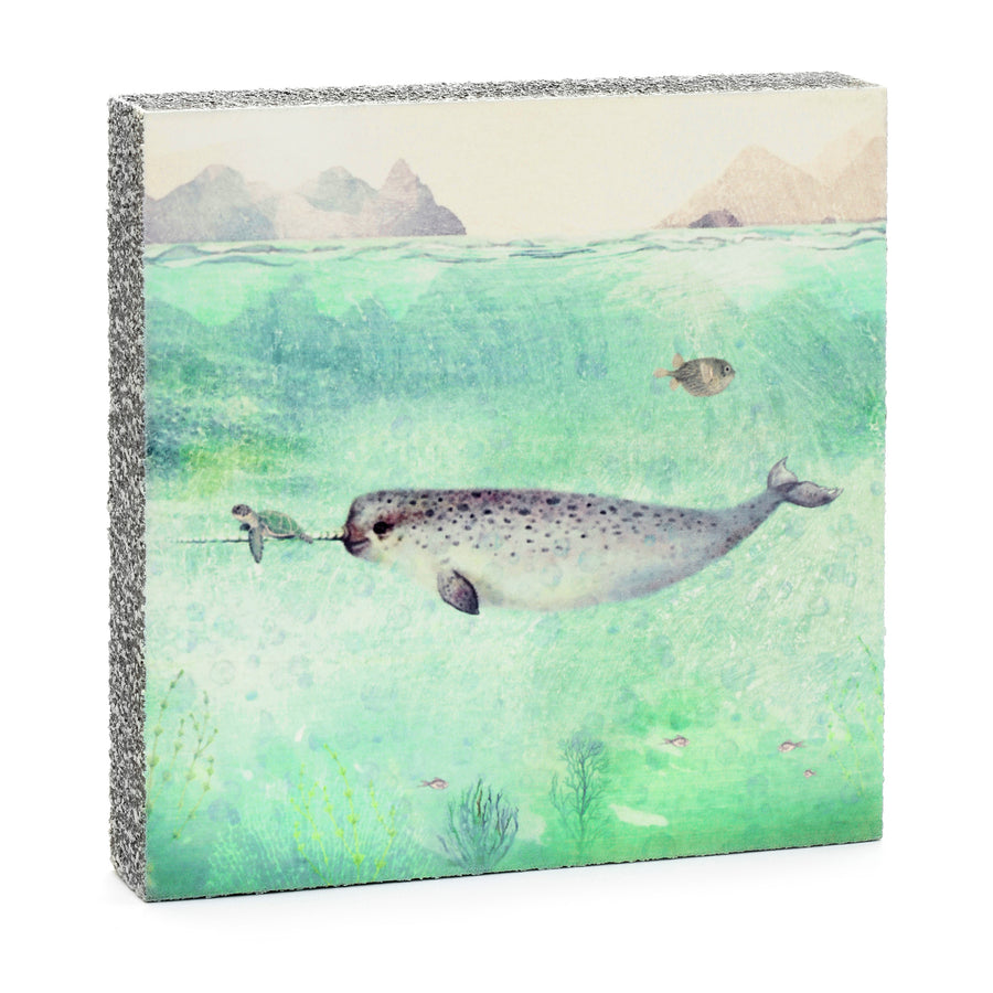 wood art block narwhal