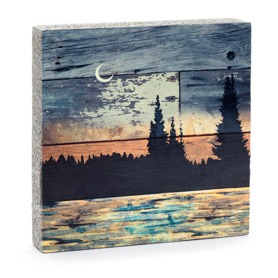 wood art block natural scene