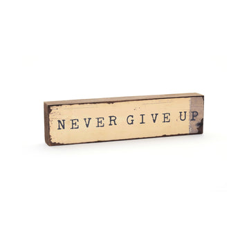wood art block never give up cedar mountain studios