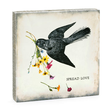 wood art block spread love bird
