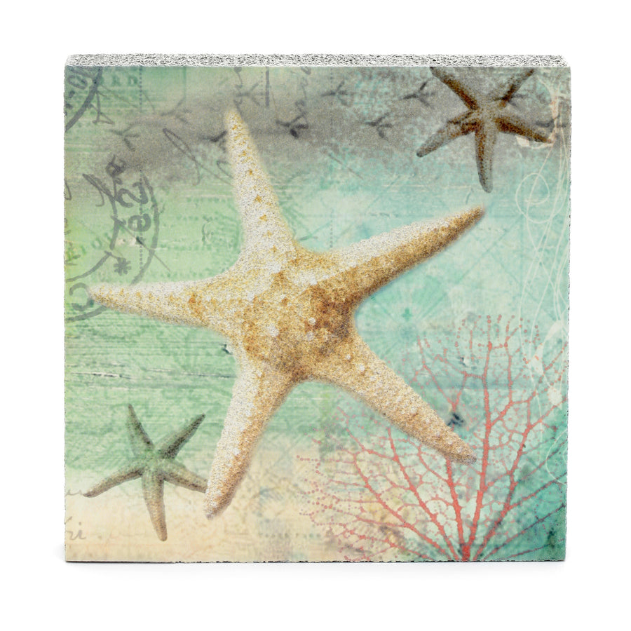 wood art block starfish