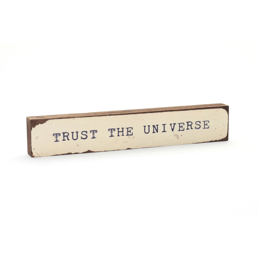 wood art block trust the universe