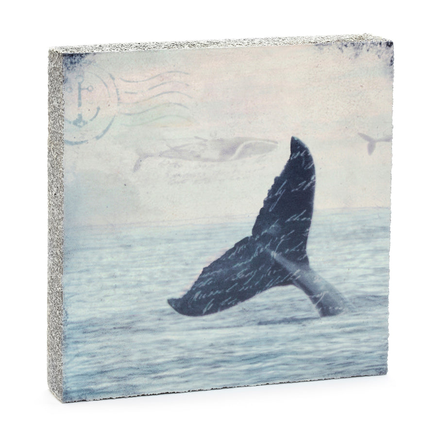wood art block whale tail