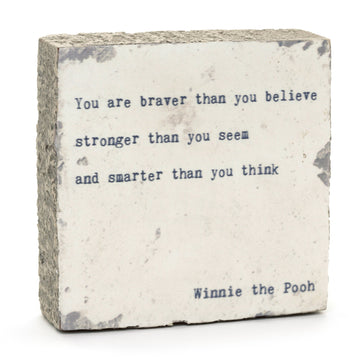 wood art block winnie the pooh quote you are braver
