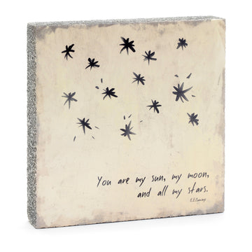 wood art block you are my sun, moon and all my stars