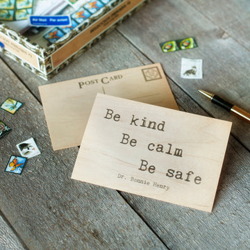 Be Kind, Be Calm, Be Safe - Wood Postcard