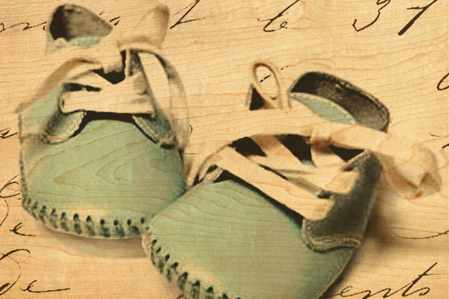 wood postcards Baby Blue Shoes