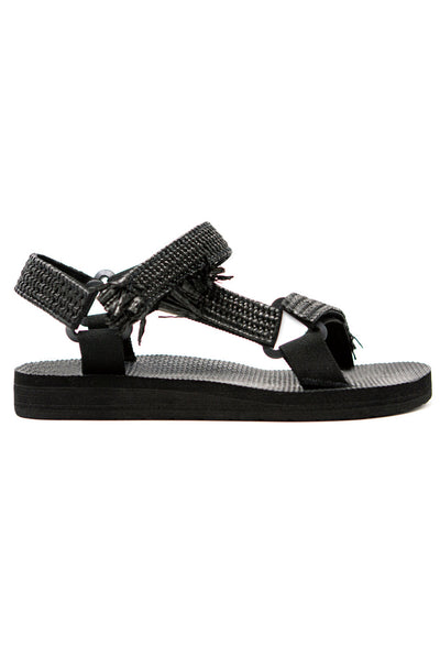 Arizona Love Trekky Rafia Black Sandals
