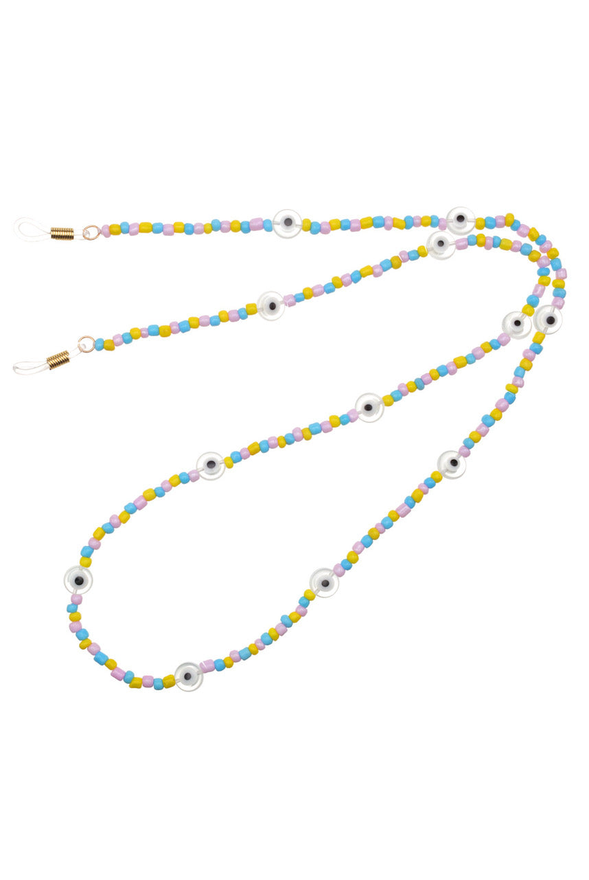 Talis Chains Candyfloss Beaded Sunglass Chain with Glazed Evil Eye Beads - One Size Multi