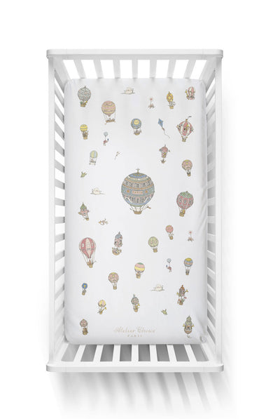 FITTED SHEET – HOT AIR BALLOONS by Atelier Choux