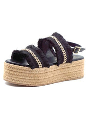 Kaanas Goa Frayed Platform Shoe in Black