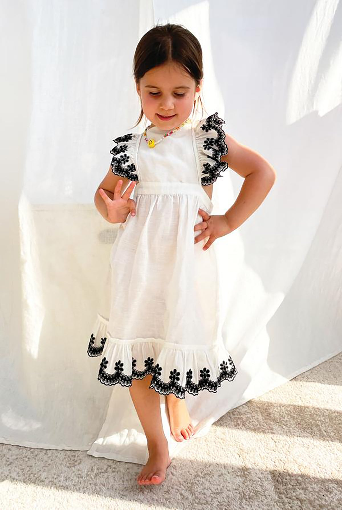 Never Fully Dressed NFD Kids Indie Frill Dress - 6-7Y White
