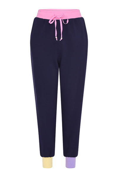 Tilda Navy Colourblock Joggers by Olivia Rubin