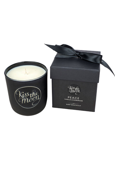 PEACE Aromatherapy Soy Candle - Vanilla & Rosewood by Kiss The Moon