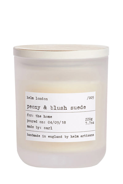 Peony & Blush Suede Luxury Candle by Helm London