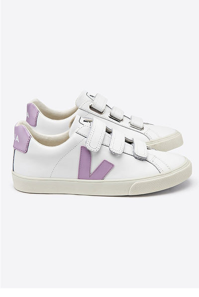 Veja Espar 3-Lock Logo Leather Trainers Extra White and Lilac