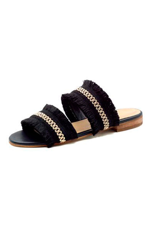 Yassica Frayed Sandal Black