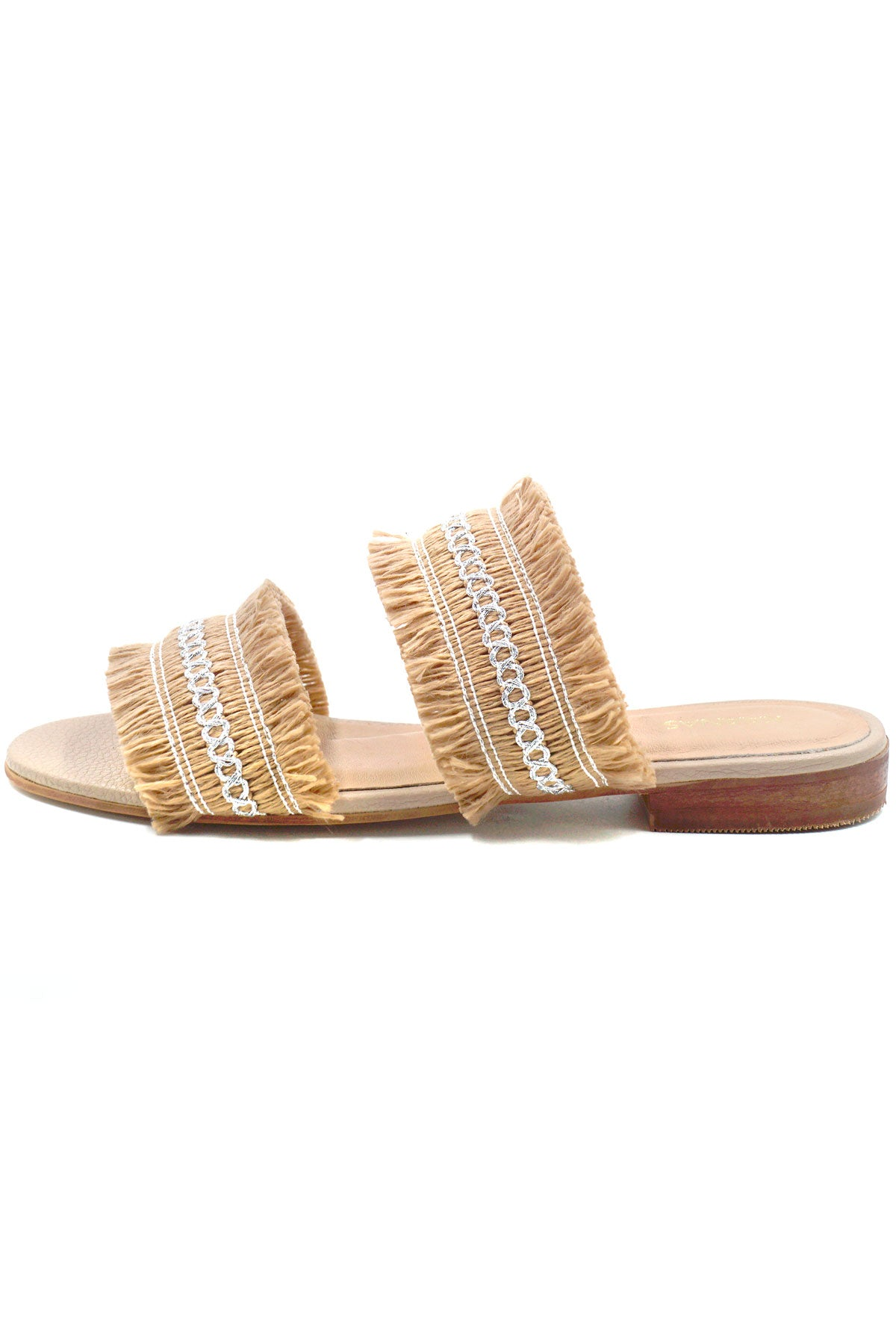 Kaanas Yassica Frayed Sandal in Champagne - US10 Nude
