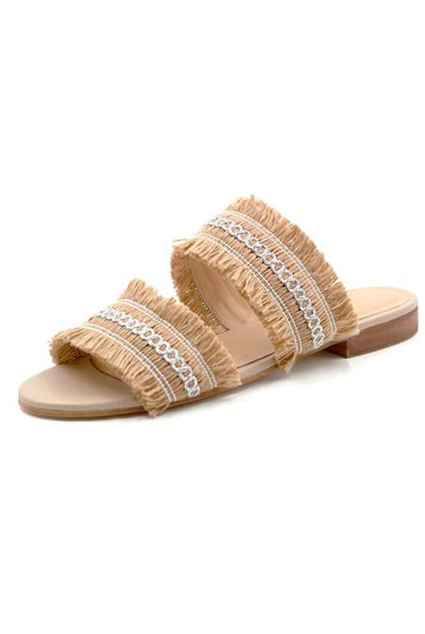 Kaanas Yassica Frayed Sandal in Champagne
