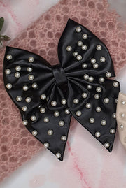 Liliane Leather Pearl Hair Bow - Black by Alice & Blair.