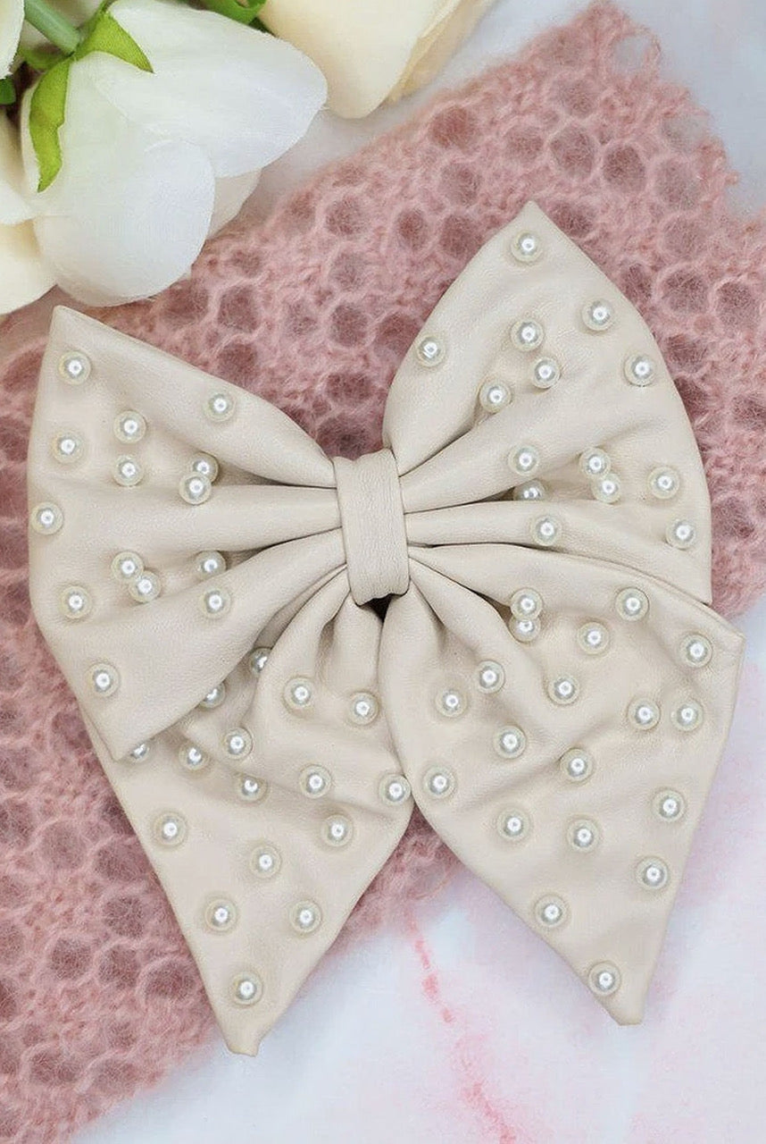 Alice & Blair Liliane Leather Pearl Hair Bow - Cream - Cream