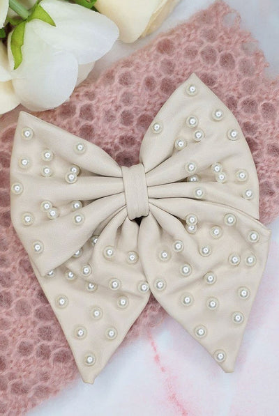 Liliane Leather Pearl Hair Bow - Cream by Alice & Blair.