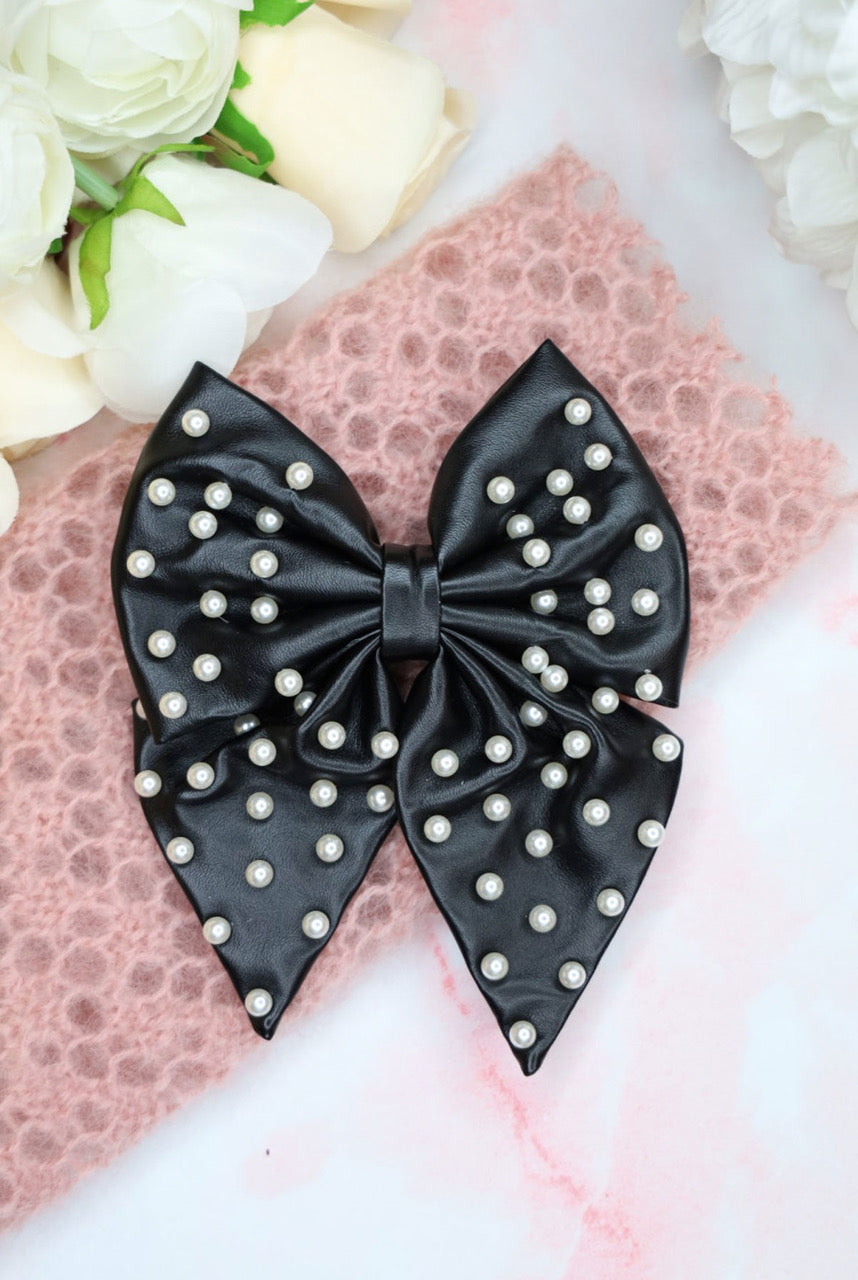 Alice & Blair Liliane Leather Pearl Hair Bow - Black - Black