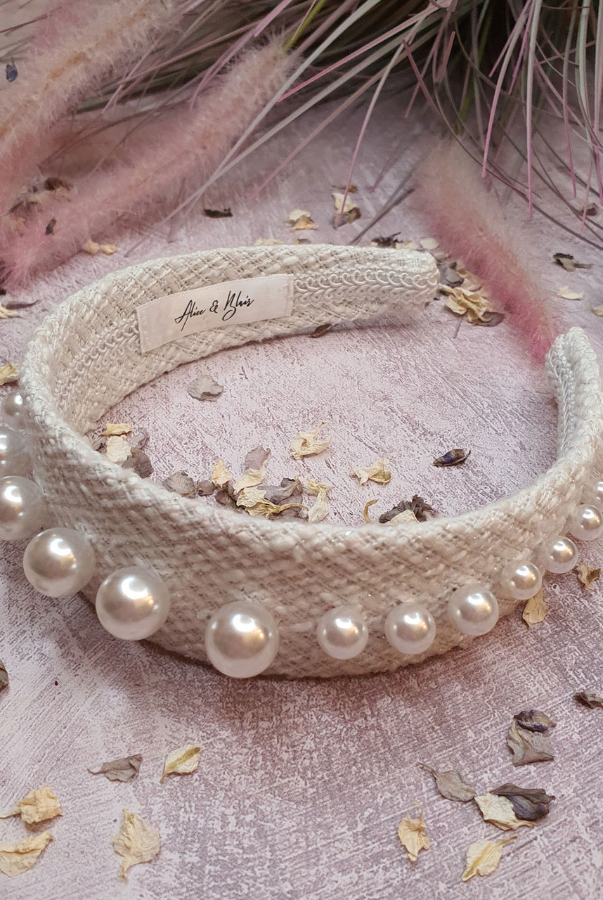 Alice & Blair Angelica Pearl Headband - White