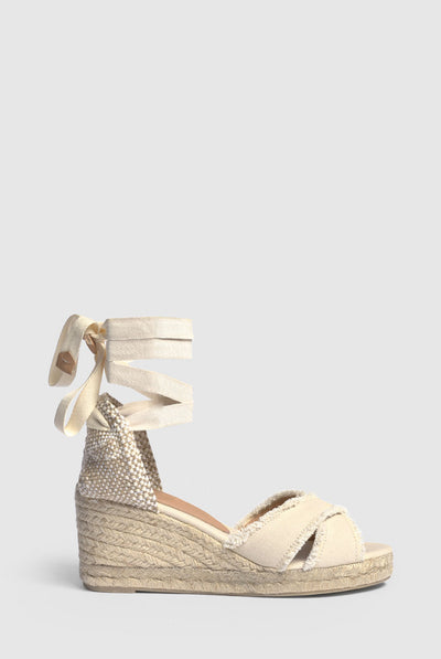 Castañer Espadrille with wedge Bluma made in canvas 7 cm - Ivory