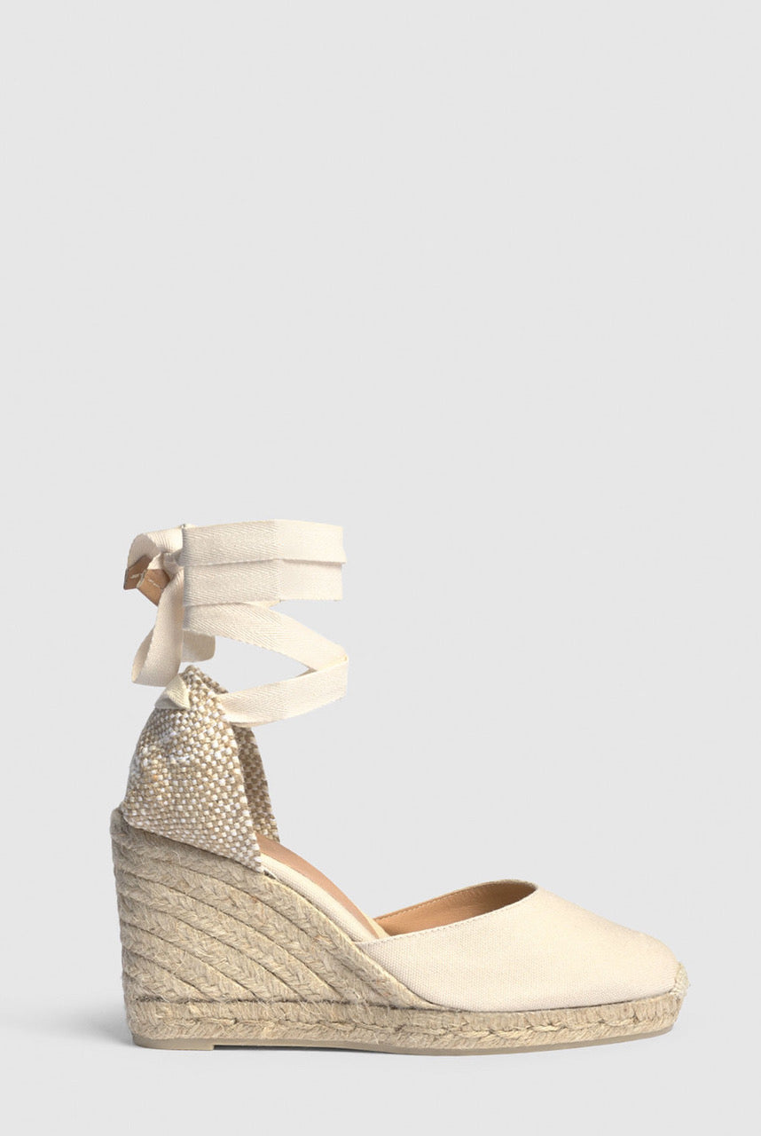 Castañer Espadrille with wedge Carina made in canvas 9cm - Ivory - EU38 Ivory