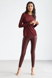 Faux Leather Legging in Oxblood by Commando