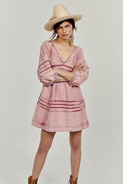 Sweet Surrender Denim Mini Dress - Acid Rose Wash by Free People.