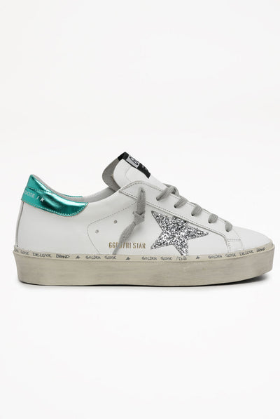 Golden Goose Hi Star Leather Upper Glitter Star Laminated Heel