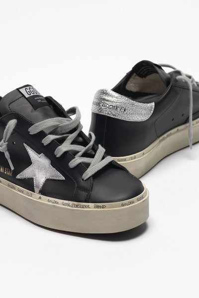 Golden Goose Hi Star Leather Upper Laminated Star And Heel