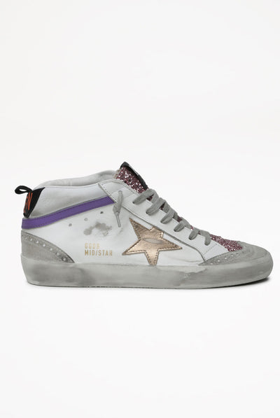 Golden Goose Mid Star Leather Upper Laminated Star Glitter Tongue