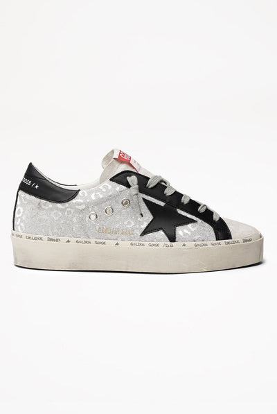 Sneakers Hi Star Silver Leopard Fabric Black Star Red Sole by Golden Goose