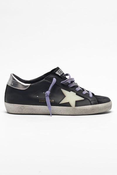 Sneakers Superstar Black Suede Silver Glitter Embossed Star by Golden Goose