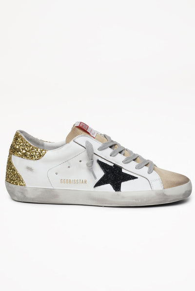 Golden Goose Super-Star Leather Upper Suede Star Glitter Heel