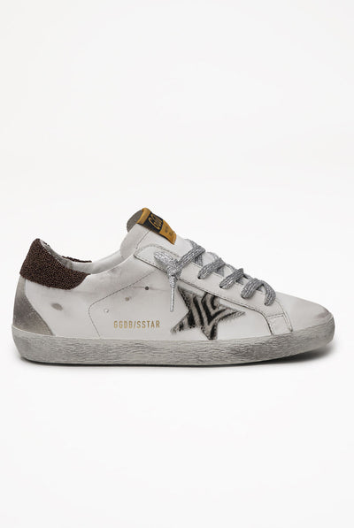 Golden Goose Super-Star Leather Upper Zebra Horsy Star Glitter Heel