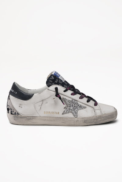 Golden Goose Superstar Leather Upper Glitter Star Python Heel