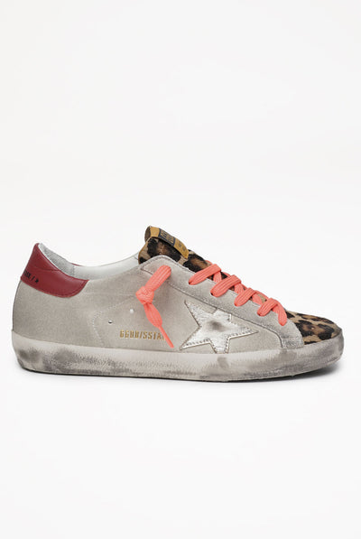 Super-Star Suede Upper Laminated Star Leopard Horsy Toe by Golden Goose