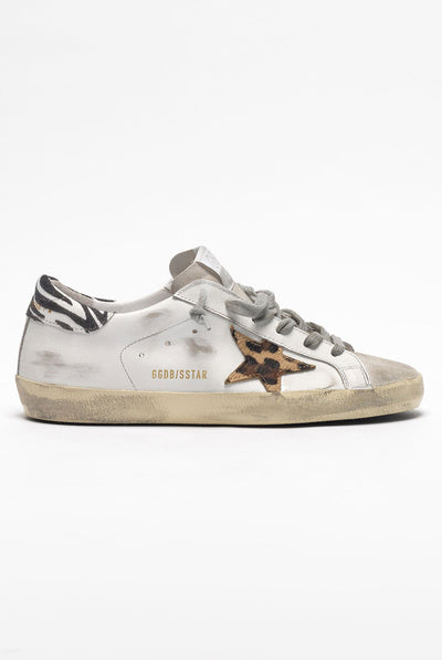 Sneakers Superstar White Leather-Pony Leo Star-Zigger Detail by Golden Goose